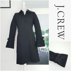 NWOT J. CREW BLACK BELL CUFF BUTTON FRONT COAT
